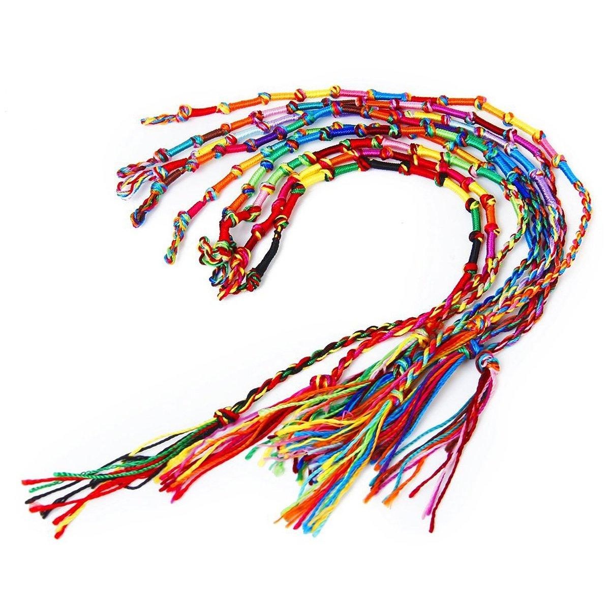 NUOLUX 9pcs Friendship Bracelets Thread Wrist Ankle Bracelets Hippie Style Random Color zHg3FIJUl