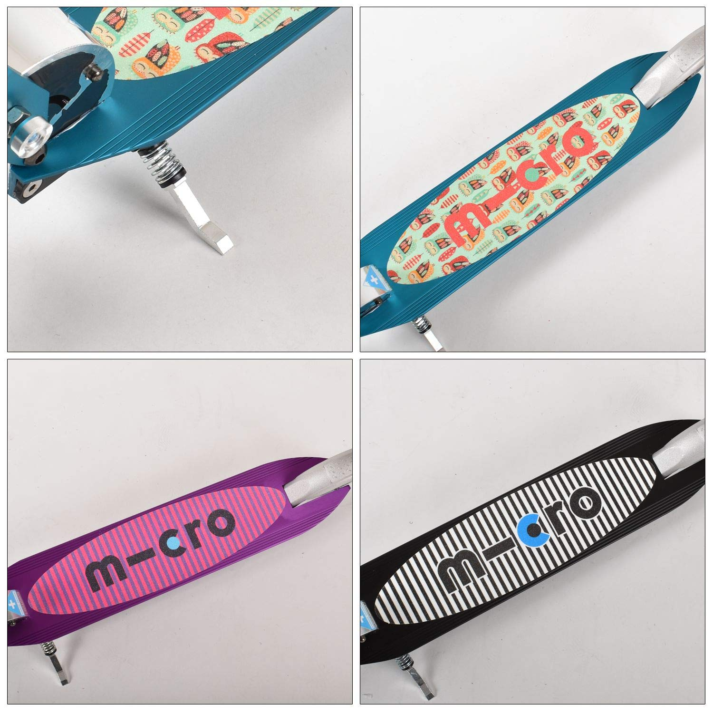 Micro Scooter para niños Plegable Sprite, Color Negro con Lija Rayada
