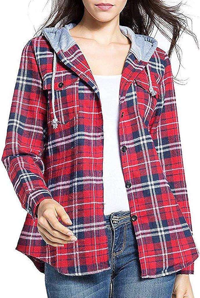 Camisa Cuadros Mujer Rebeca Chaqueta Blusa de Manga Larga con Capucha de Cuadros Escoceses clásicos de Moda para Mujer Blusa Sudadera Escocesa con Capucha Casual Caminar Diario Compras LiNaoNa: Amazon.es: Ropa y