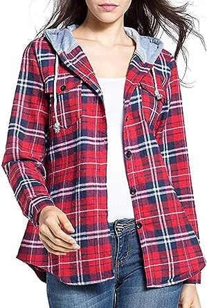 Camisa Mujer con Capucha y Cuadros Sudadera con Capucha ...