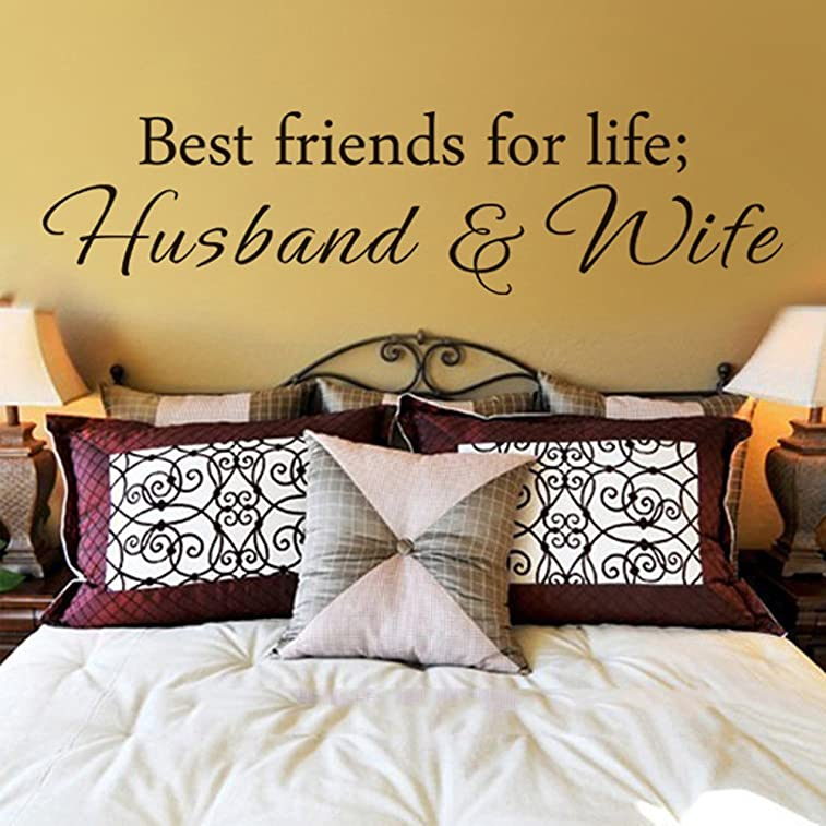 Husband and Wife Best friends for life Wall Art Decal Wall Quote Vinyl Lettering for Couple Room Anniversary (Black, X-Large)