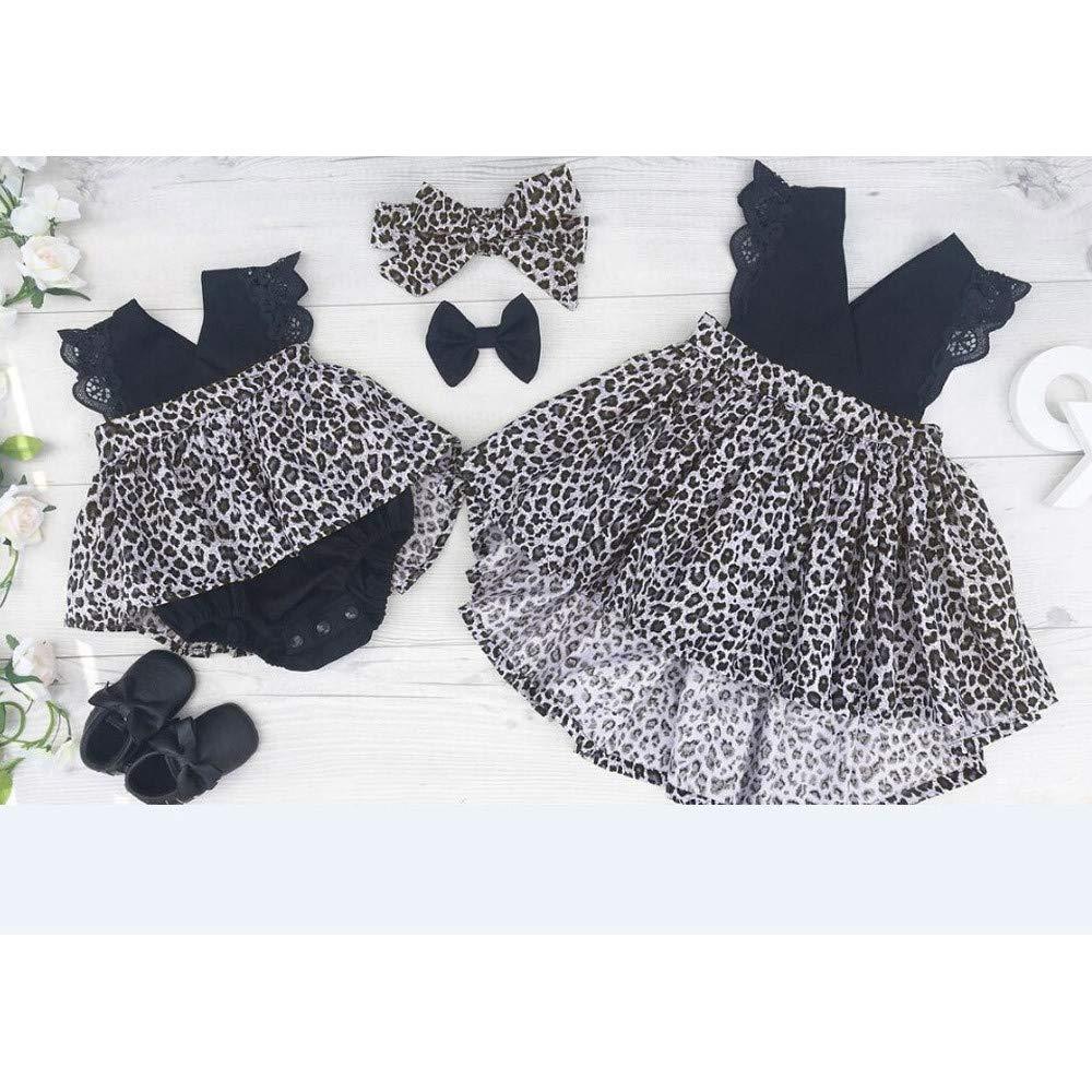 Stirnband Set Kleid mit Leopardenmuster / Babykleid MISSWongg/_Babykleidung Kinder M/ädchen Prinzessin Kleid Festzug Hochzeit T/üll Tutu Kleider