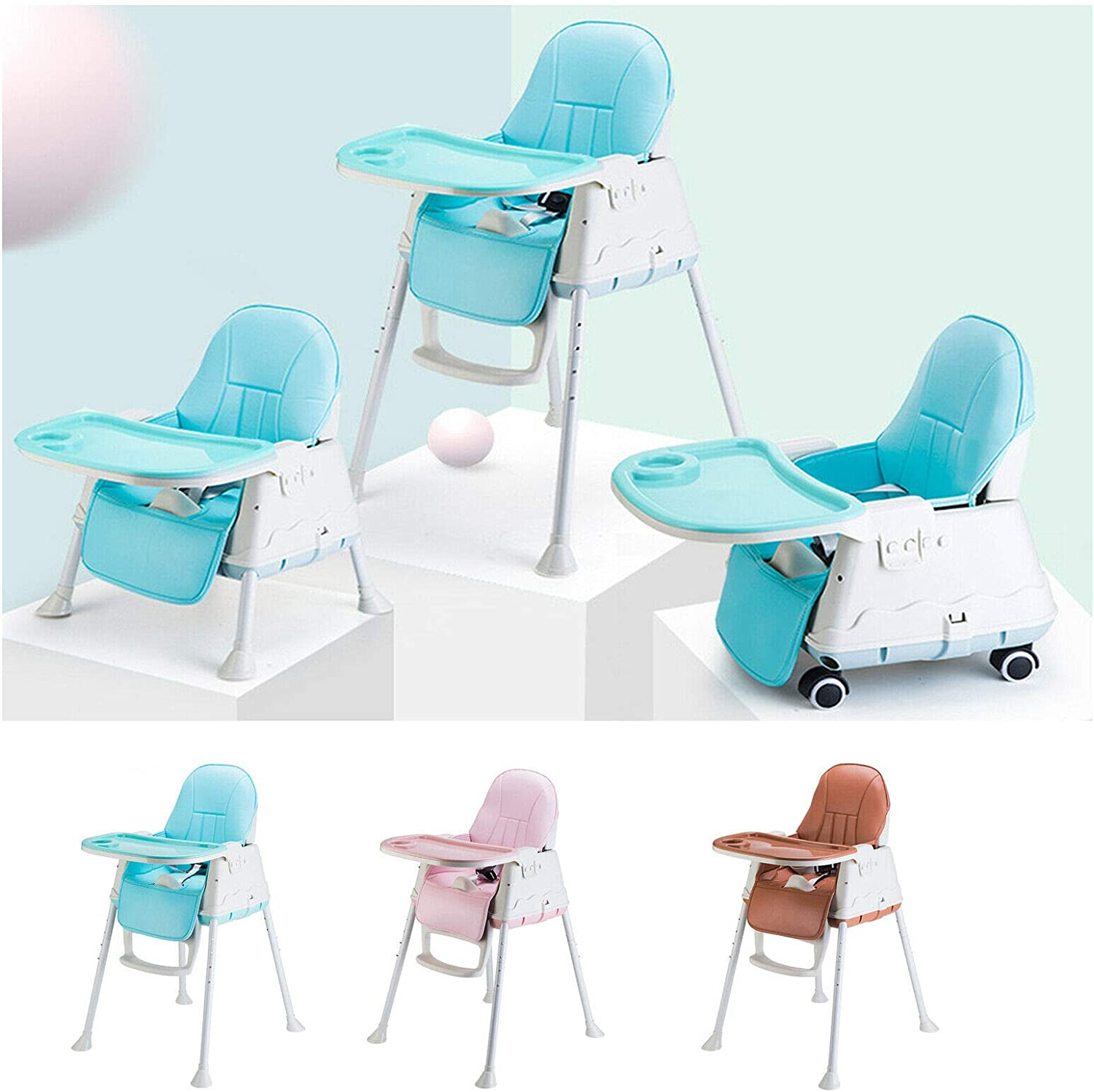 Baby High Chair 3 in 1 Adjustable for Height & Backrest & Safety Belt & Tray Removable, Comfortable Cushion Detachable Soft Leather, Baby Kids Toddler