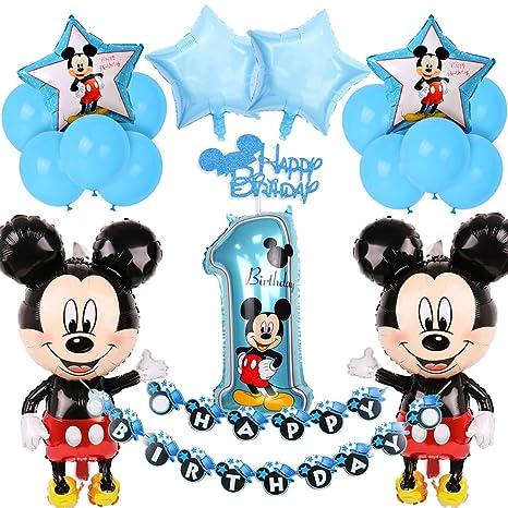 Mickey Mouse 1er cumpleaños Decoraciones para niños con Azul Mickey Feliz cumpleaños Banner Cake Topper