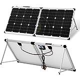 DOKIO Maleta solar portátil monocristalina plegable de 100 vatios y 12 voltios con controlador de carga