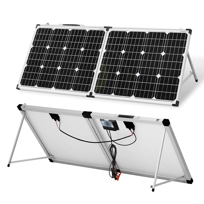DOKIO Panel solar portátil plegable 100 W 12 V monocristalino maleta solar con controlador de carga impermeable