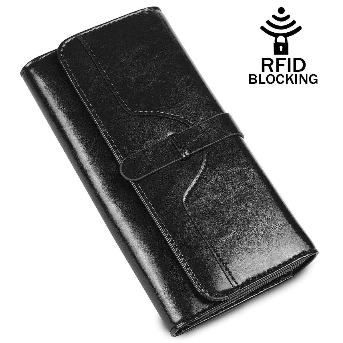 Women's Leather Wallet, RFID Blocking Trifold Multi Card Holder Lady Purse Long Wallets for Women (Black)