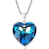 Aroncent Collar con Swarovski Cristal Cadena Ajustable de Cobre Colgante Púrpura Forma de Corazón Regalo Elegante para Mujer Dama Amor