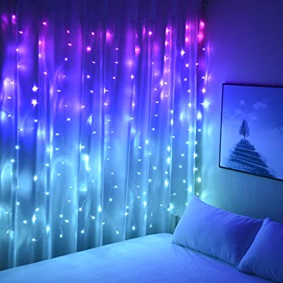 Buy Curtain Lights Pink Blue Purple Fairy Lights For Bedroom Wall Hanging Christmas Lights Twinkly For Teen Girls Unicorn Mermaid Under The Sea Ocean Nautical Beach Themed Room Decor Purple Blue Ombre