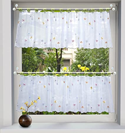 ZebraSmile 1pcs Embroidered Floral Half Window Curtains Kitchen Window Tier  Semi Sheer Window Treatment Valance Voile Tab Top Window Tier for Kitchen  ...