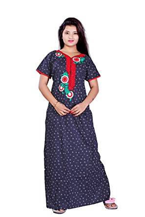 0c2d197172 TRUNDZ Fancy Embroidered Multi Cotton Nighty Full Length