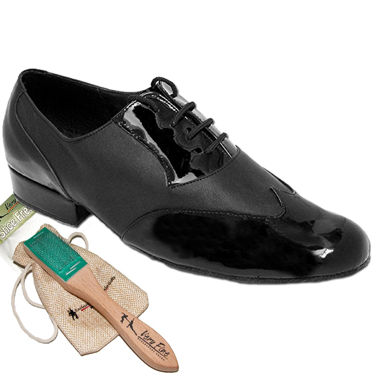 Mens Ballroom Dance Shoes Standard & Smooth Tango Wedding Salsa Shoes Black Patent & Black Leather M100101EB Comfortable - Very Fine 1'' Heel 11 M US [Bundle of 5]