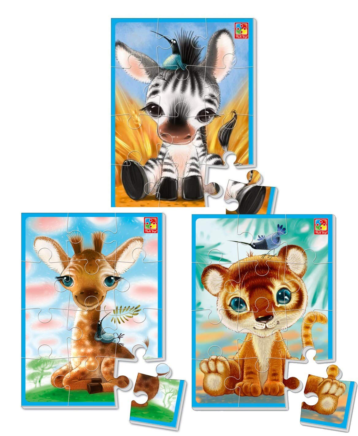 3 psc Soft Puzzle Contains Heroes Items Animals Toys Children Mosaic Development Vladi Toys 9.4 inch