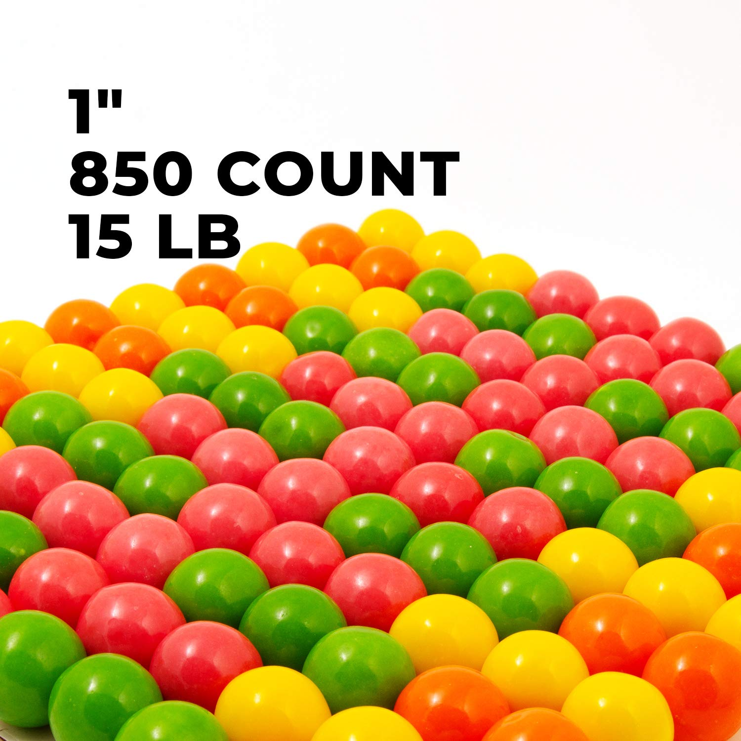 Gumballs for Gumball Machines - Bubble Brights - 1 inch box of 15 lb - Fresh Gumballs for Bulk Vending Machines - Gumball Machine Refills - Fruit Gumballs 25 mm 850 Count
