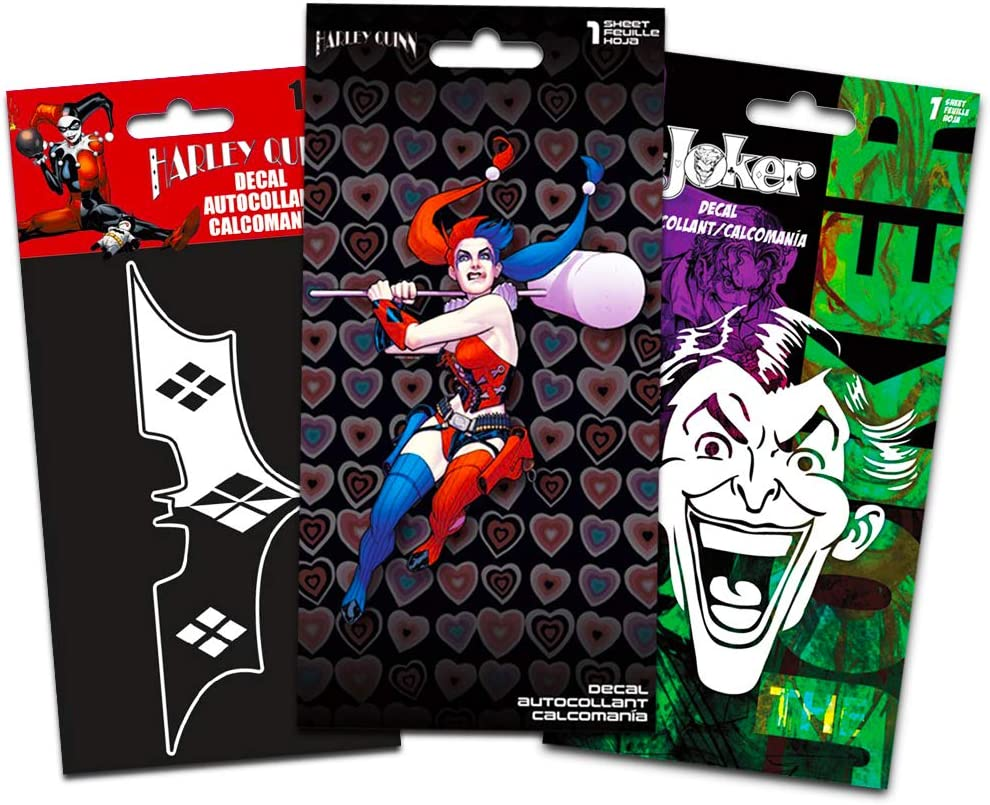 DC Comics Harley Quinn Decals Set - 3 Large Harley Quinn Suicide Squad Decal Stickers for Car, Walls, Room Decor (Harley Quinn Merchandise)