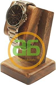 Deals abhandicrafts - Wooden Watch Stand for Men/Dock/Station/Platform for All Models/Moms, DADS, Grandparents (Watch Stand Burn Finish)