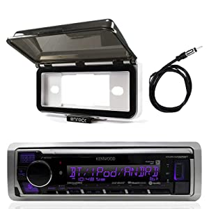 Kenwood Single DIN in Dash Boat Marine Digital Media USB AUX Stereo Receiver - Mechless, Enrock Marine Dash Cover Protector (White), AM/FM Antenna