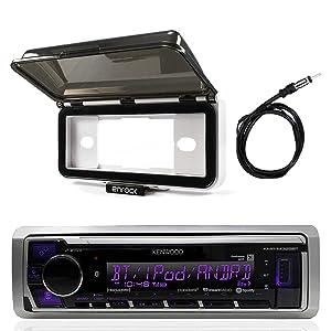 Kenwood Single DIN in Dash Boat Marine Digital Media USB AUX Stereo Receiver - Mechless, Enrock Marine Dash Cover Protector (White), AM/FM Antenna