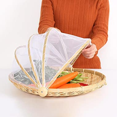 Hand-Woven Food Serving Tent Basket, Fruit Vegetable Bread Cover Storage Container Outdoor Picnic Food Cover Mesh Tent Basket with Gauze(Bug- proof, Dust-proof ) Keep Out Flies, Bugs, Mosquitoes (L)