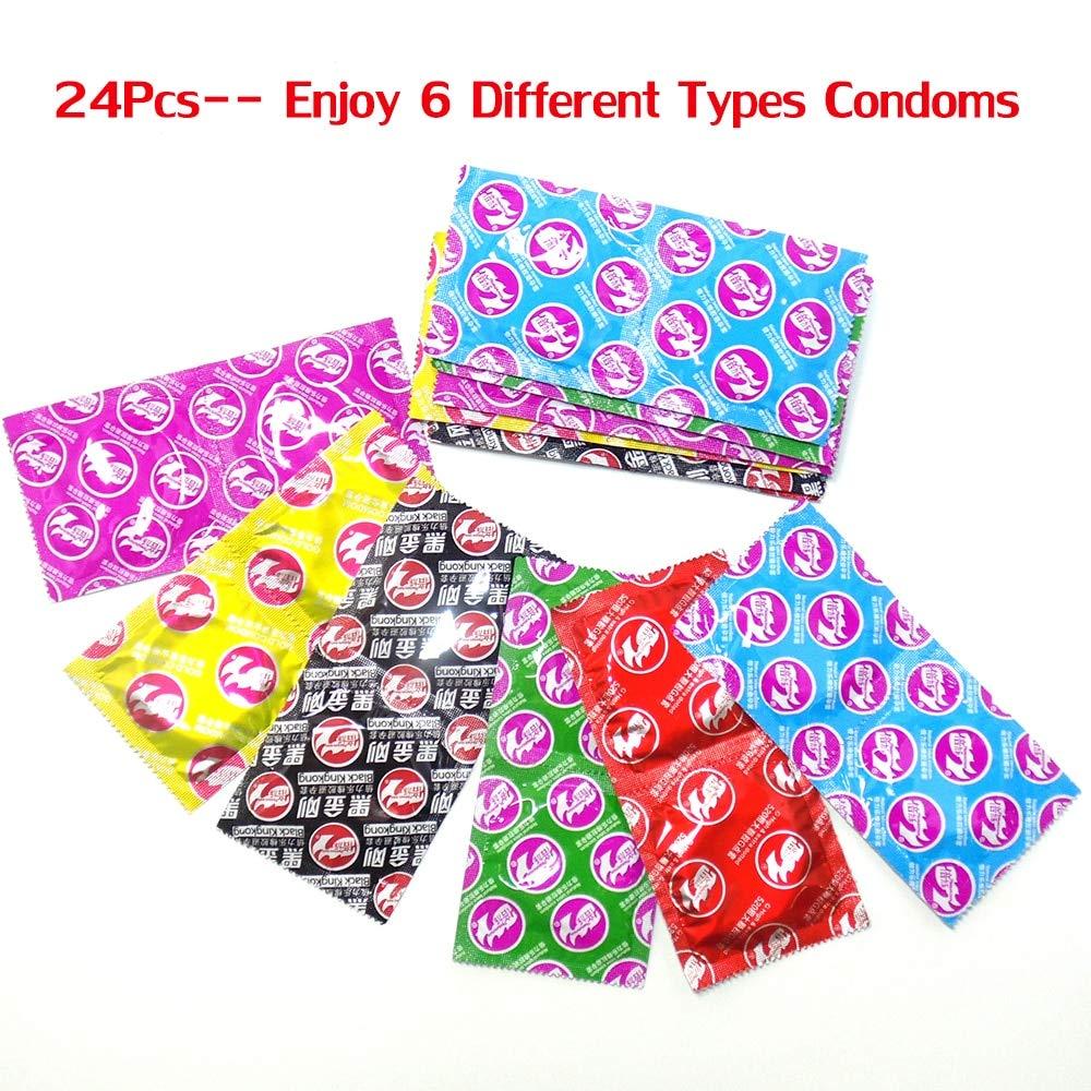 Portal Cool (6 en 1) Latex 24Pcs / Pack Natural Latex 1) G-Spot Estimulando los productos sexuales para hombres 400c64
