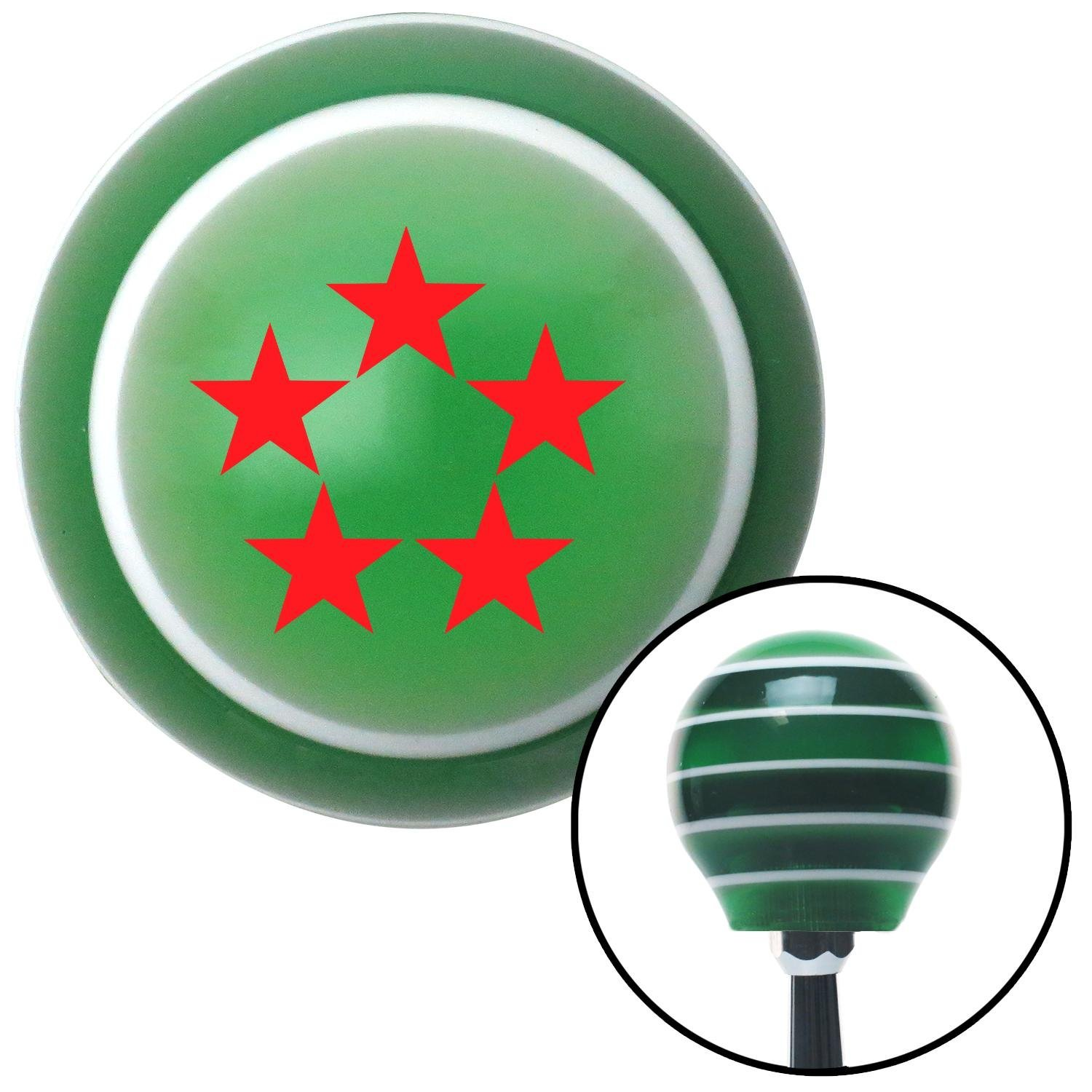 Red Officer 11 - General of Air Force American Shifter 124608 Green Stripe Shift Knob with M16 x 1.5 Insert
