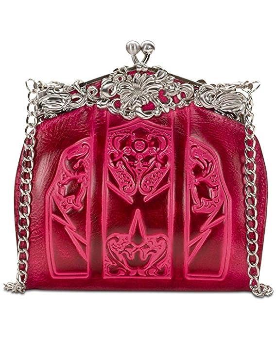 Vintage Handbags, Purses, Bags *New* Patricia Nash Burnished Tooled Rosaria Frame Clutch - Pink  AT vintagedancer.com