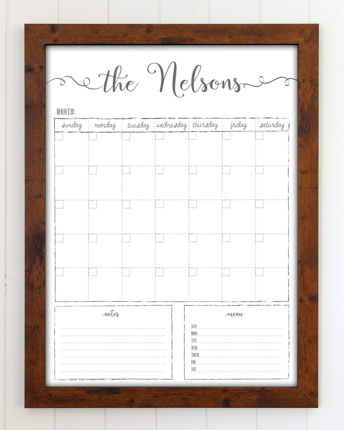 Dry Erase Calendar, Custom Whiteboard Framed Calendar, 18x24 Wall Calendar, Chalkboard Calendar, Family name Calendar, reusable calendar organizer, Command Center, Dry Erase Board