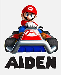 Custom Name Wall Decals Kids Bedroom Wall Decor Art Mario Kart Boys Mural Decal Gift Super Vinyl Wall Stickers Removable (18