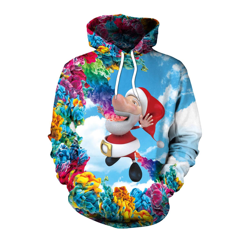 JAYE Costume di Natale, Coppia Costume HD 3D Stampa Pullover Leggero Felpe Cappello Sciolto Tasche-1 Pz (M-XXL),16,L
