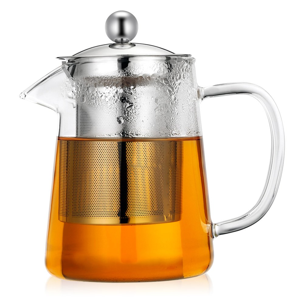Clear Glass Teapot CookJoy Tea Maker with Tea Infuser, 304 Stainless Steel Infuser&Lid Tea Pot 27 Ounce/800ML Borosilicate Glass Tea Pot for Blooming and Leaf Tea Teakettle