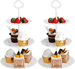 2 Set of 3-Tier Plastic Round Cupcake Stand Fruit Plate White Food Serving Stand for Wedding Birthday Baby Shower Tea Party (Small)