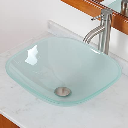 ELITE Bathroom Square Frosted Glass Vessel Sink U0026 Brushed Nickel Faucet  Combo