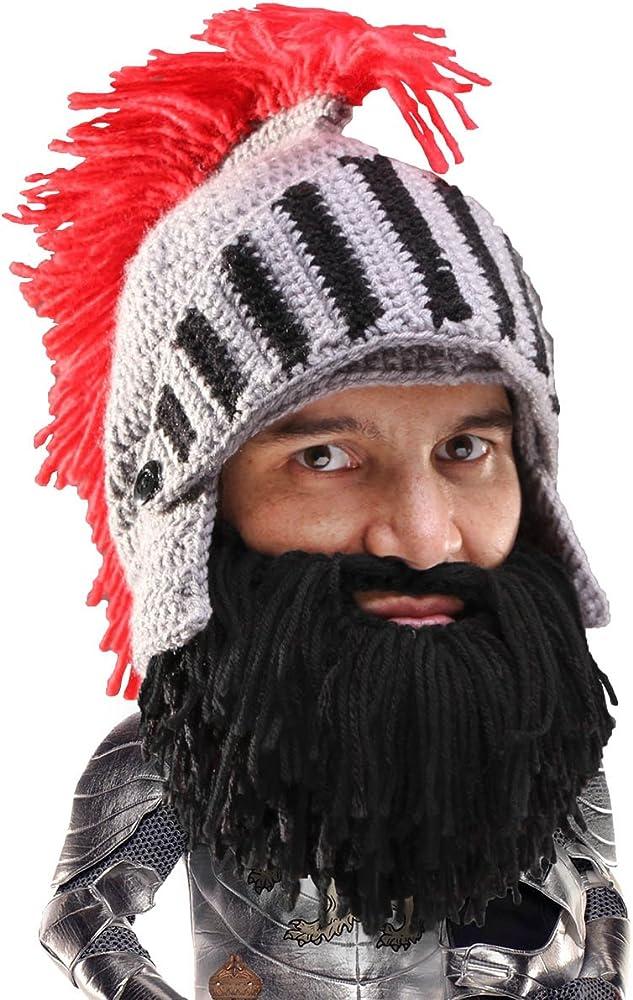 317407d61 Knight Beard Beanie - Funny Knitted Helmet and Fake Beard and Visor