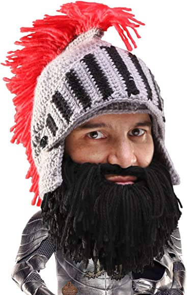 6b0ffb1513e5a8 Beard Head Knight Beard Beanie - Funny Knitted Helmet and Fake Beard and  Visor Black