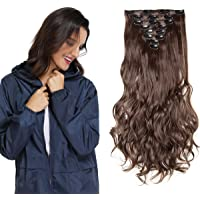 Hairro Clip in on Hair Extensions (#M4 Medium Brown) Long Curly Wavy Synthetic Hair Piece Full Head Thick Heat…