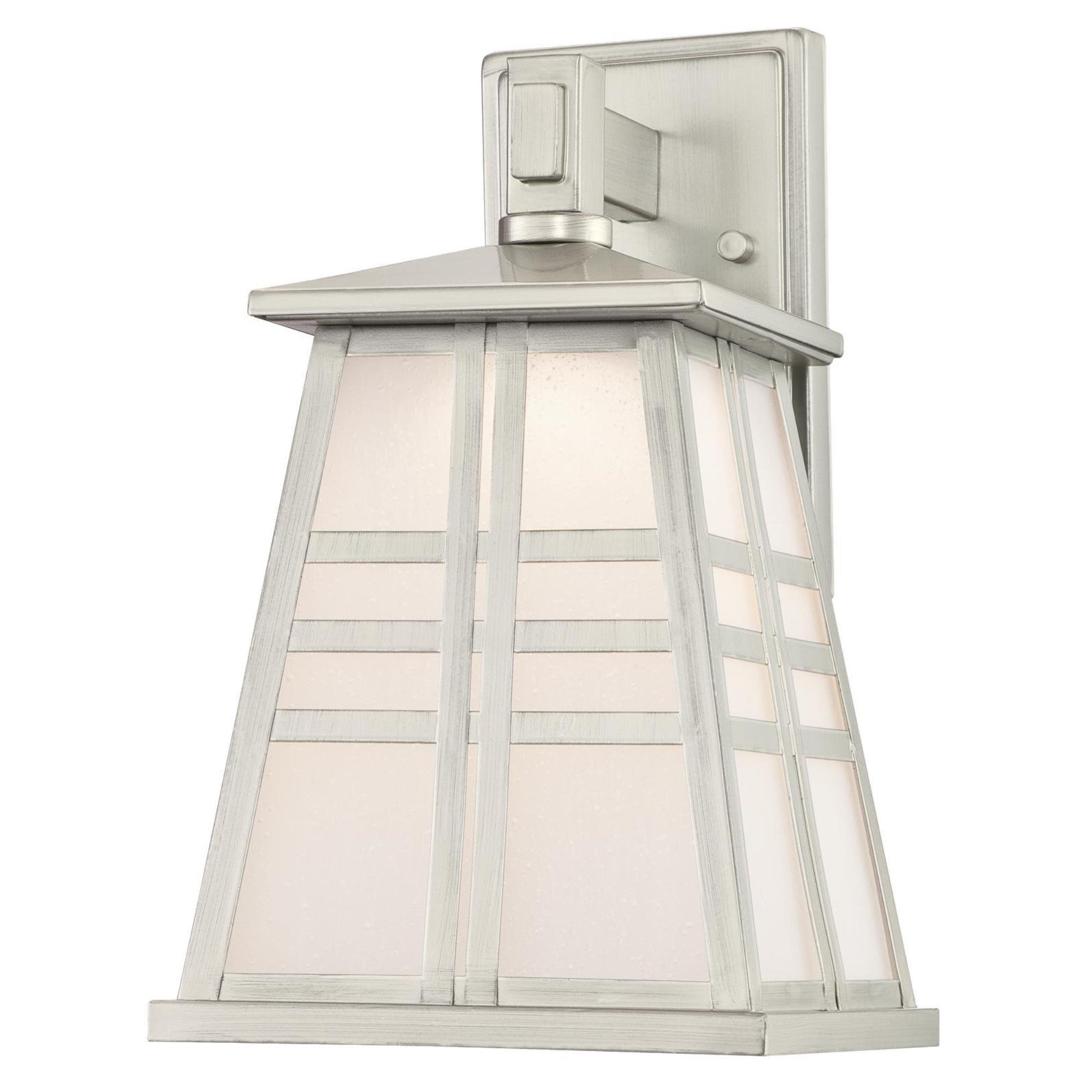 Westinghouse 6339600 Creekview One-Light LED Outdoor Wall Fixture with Frosted Seeded Glass, Brushed Nickel