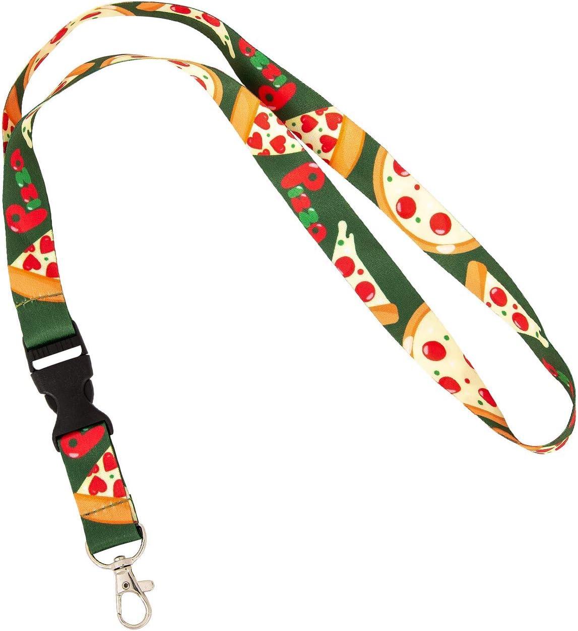 Pizza Food Lanyard Badge ID Car Keys Keychain Souvenir Holder Nurse Doctor Teacher Office Detachable Breakaway Snap Buckle (Design 3)