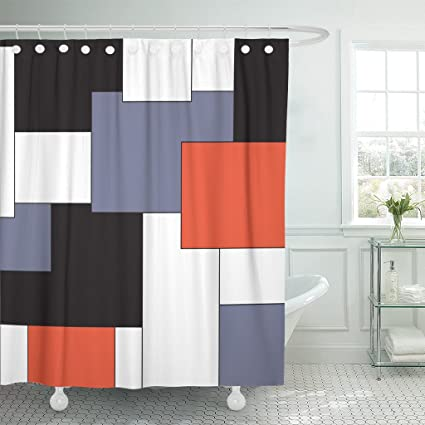 Accrocn Waterproof Shower Curtain Curtains Fabric Wavy Vertical Stripes Red Black White And Grey 60x72 Inches