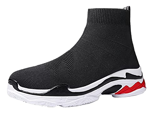 WSKEISP Mens Sneakers Breathable Athletic Outdoor Woven Knit Casual Sports Running Shoes
