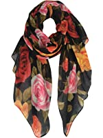 GERINLY Rose Blossom Print Scarf Womens Flower Shwal Wrap