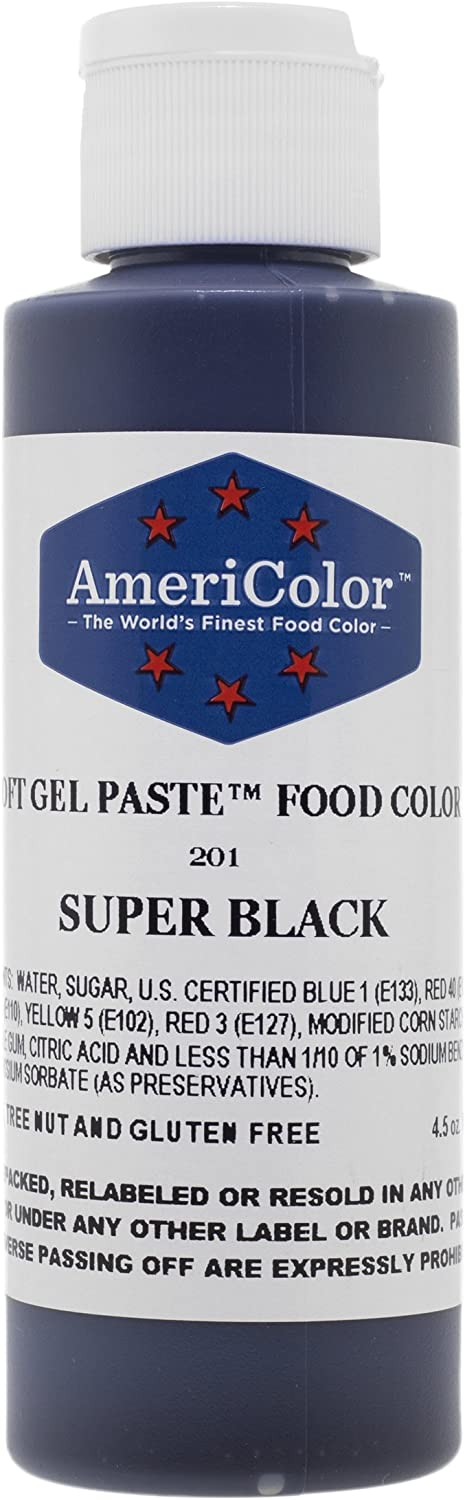 Food Coloring AmeriColor - Super Black Soft Gel Paste, 4.5 Ounce