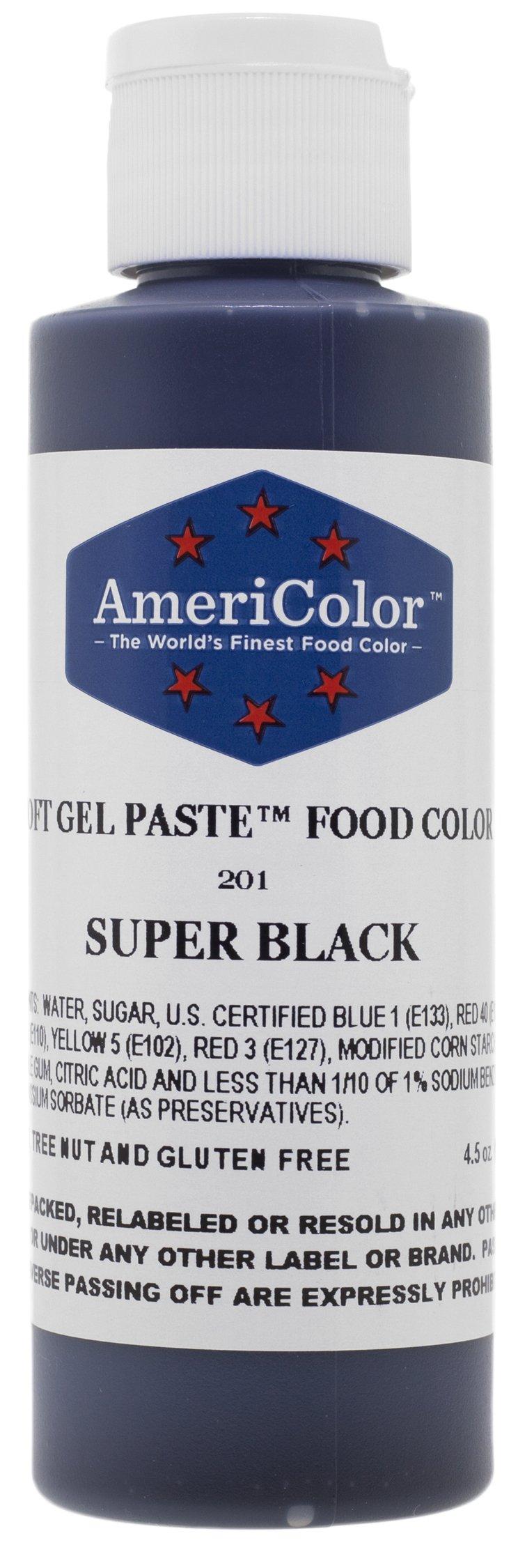 Food Coloring AmeriColor - Super Black Soft Gel Paste, 4.5 Ounce