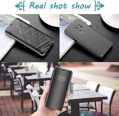 Karomenic Spiegel H/ülle kompatibel mit Samsung Galaxy A10 /Überzug PU Leder Mirror Case Flip Schutzh/ülle Brieftasche Cool M/änner M/ädchen Slim Clear Handyh/ülle Tasche Etui,Silber
