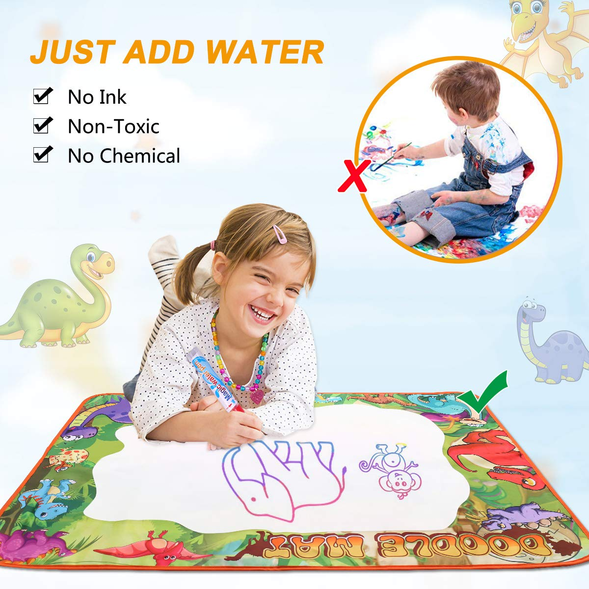 39.5 X 27.5 in 7 Color Doodle Drawing/Mat with Magic Roller and 3pen Educational Toys for Boys Girls Age 2 Conthfut Water/Drawing/mat Aqua Magic Doodle mat 39.5 X 27.5 in 7 Color Doodle Drawing/Mat with Magic Roller and 3pen