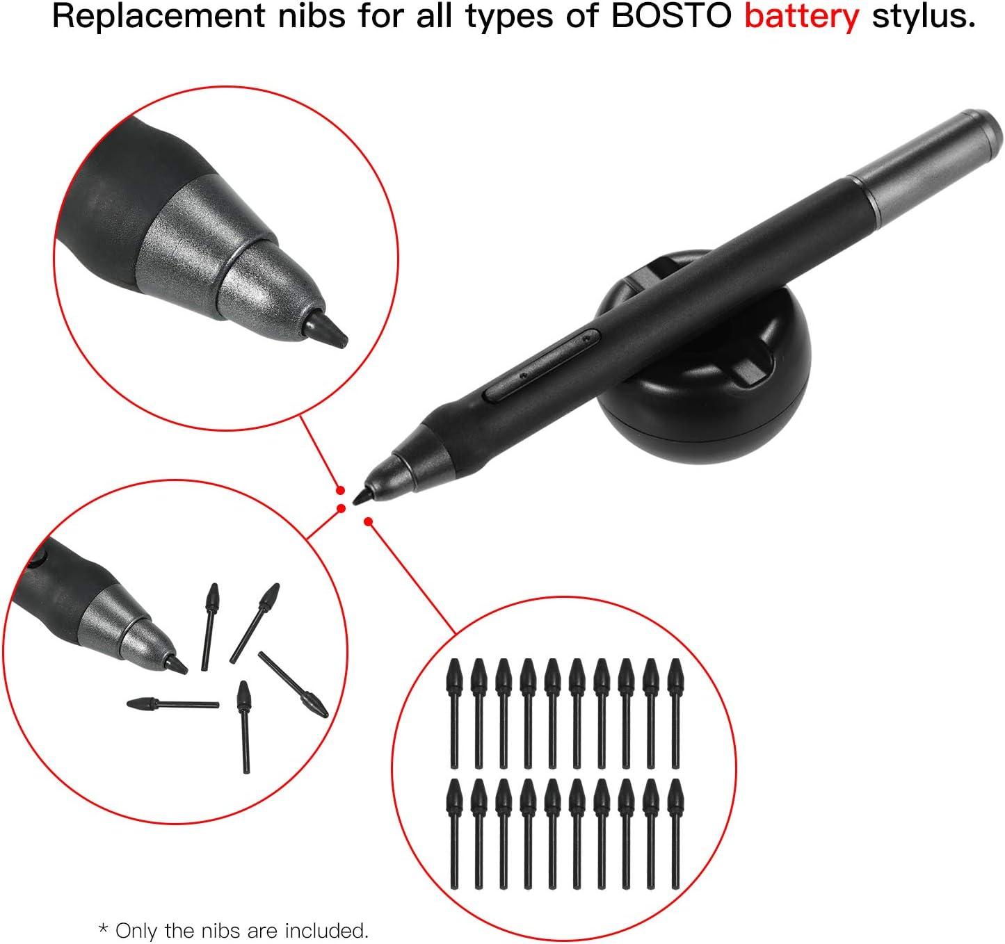 20-teilige Ersatzspitzen Stiftspitzen Kompatibel mit allen Grafikmonitor-Zeichentabletts Batteriefreier Stift Schwarz