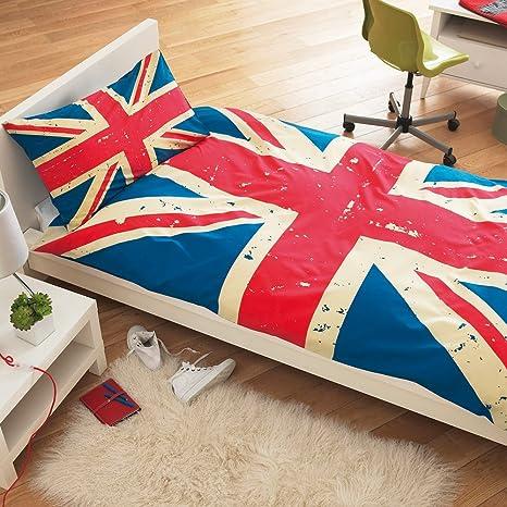 Piumone Singolo Bandiera Inglese.Copripiumino Singolo Con Federa Union Jack Vintage Con Bandiera Inglese