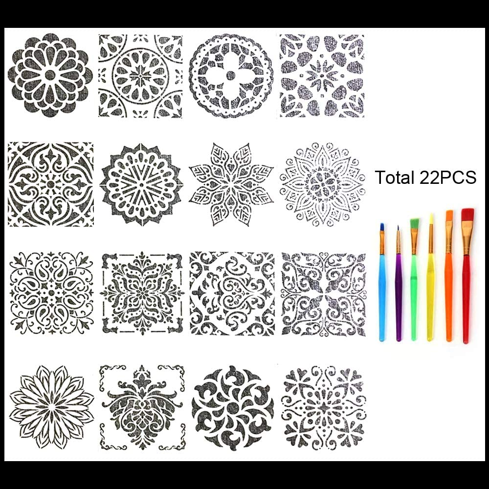16 Pack (6x6 Inch) Paint Stencils Mandala Stencil Template for Painting on Floor Wall Tile Furniture - Reuseable Stencils for Painting