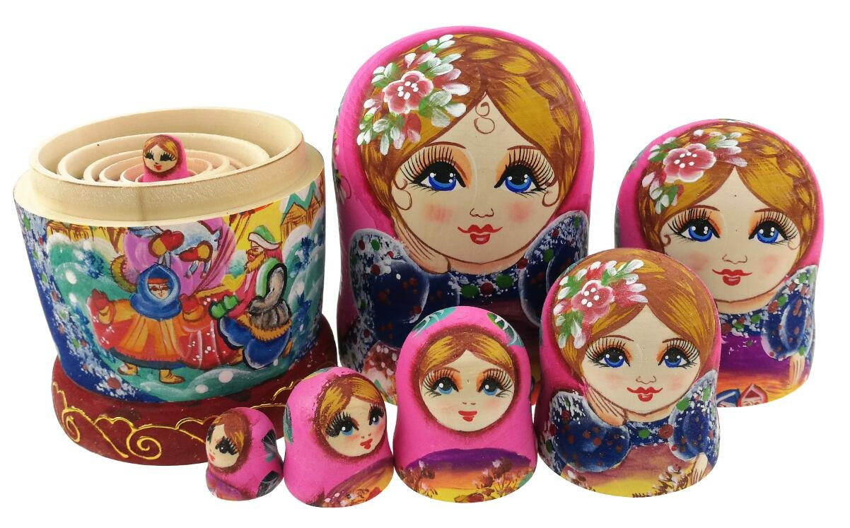 Beautiful Color Cute Little Girl Fairy Tale Handmade Wooden Russian Nesting Dolls Matryoshka Dolls Set 7 Pieces for Kid Toy Birthday Home Decoration by Winterworm (Image #5)