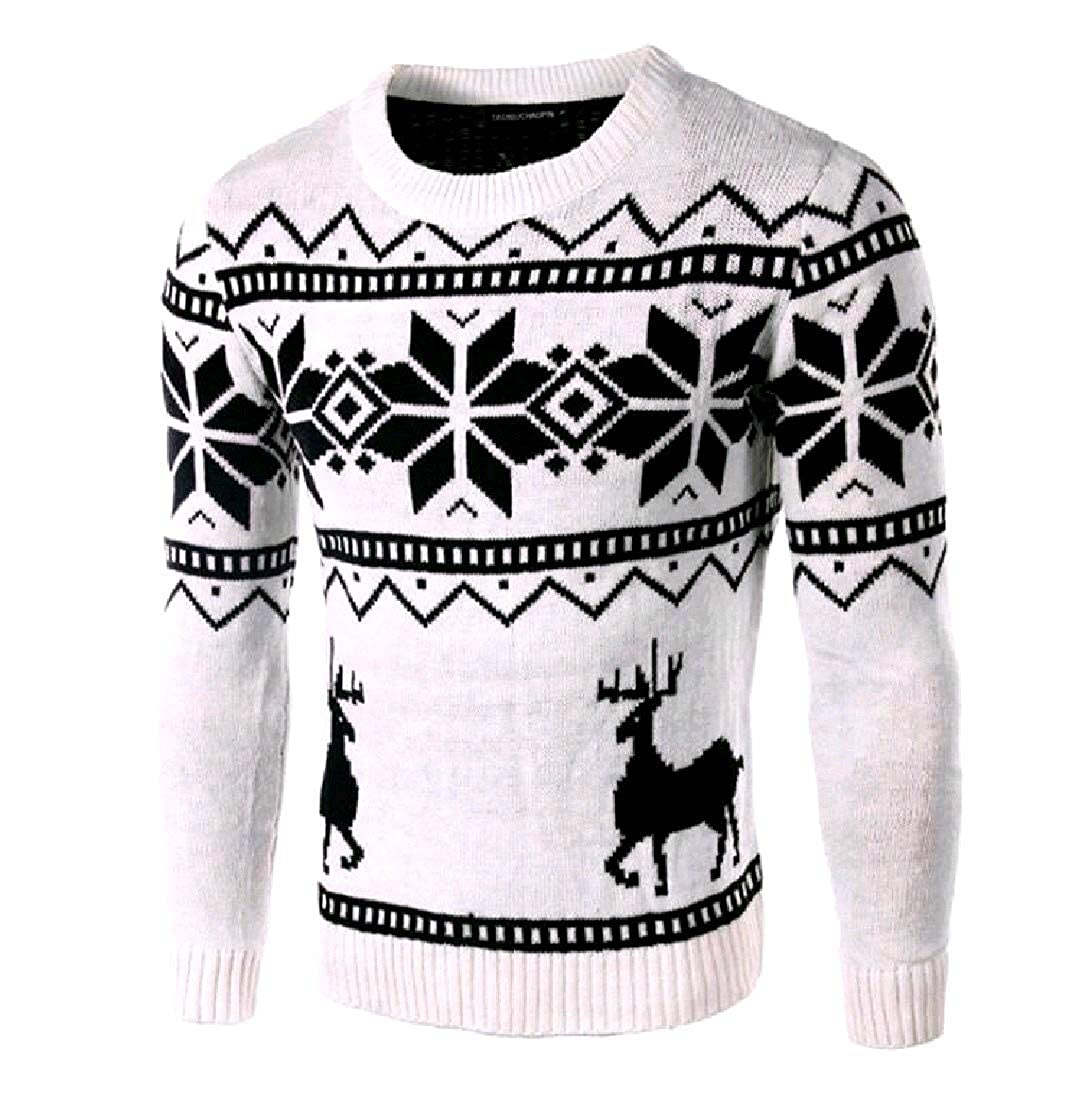 Nicelly Mens Elk Christmas Oversize Christmas Day Pullover Sweater