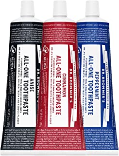 product image for Dr. Bronner's - All-One Toothpaste (3-Pack Variety) 5 Ounce Peppermint, Cinnamon, Anise - 70% Organic Ingredients, Natural and Effective, Fluoride-Free, SLS-Free, Helps Freshen Breath, Reduce Plaque